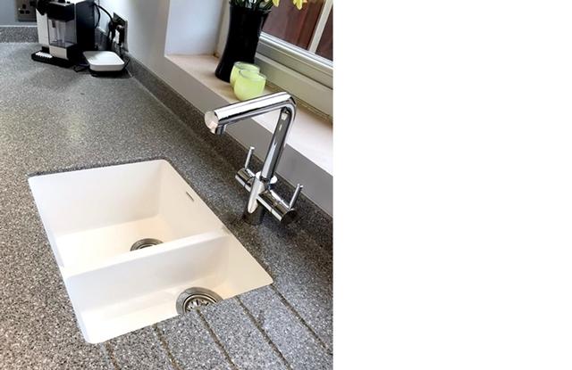 Under Mounted Sink Long Eaton, Corian stone effect kitchen worktop