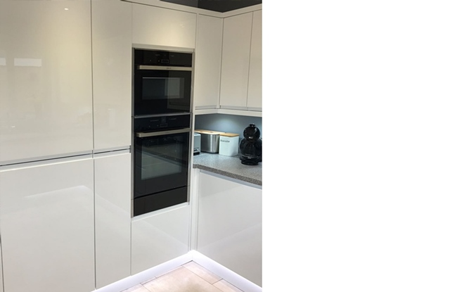 Double Oven Long Eaton, White handles kitchen cabinet doors