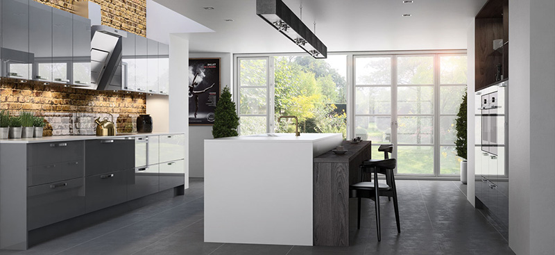Stylish modern kitchen, Long Eton, Nottingham. High gloss kitchen cabinet doors, dark wood grain kitchen island