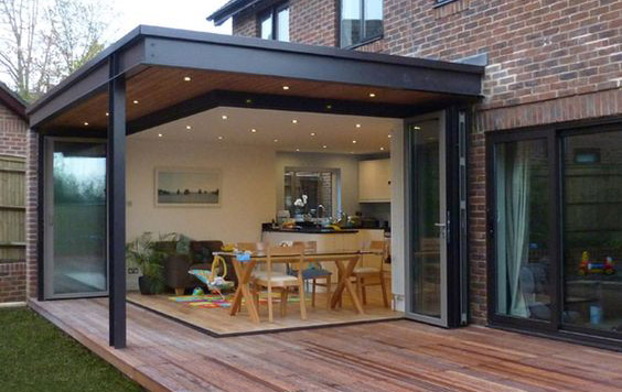 Single Storey extension, bi-fold doors, sliding doors, timber deck. Long Eaton, Nottingham.