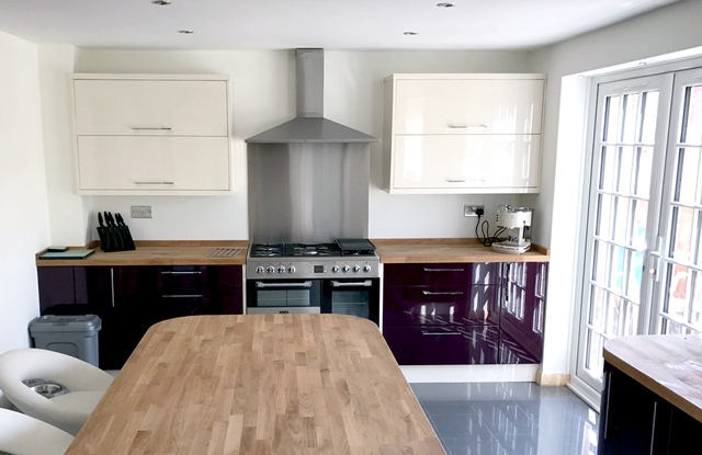 New Kitchen layout, Kitchen cabinets with timber worktop in Long Eaton