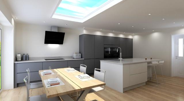 Kitchen design Nottingham Modern kitchen with island seating