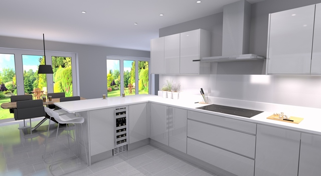 New kitchen dinning room, white cabinets in Long Eaton Nottingham.