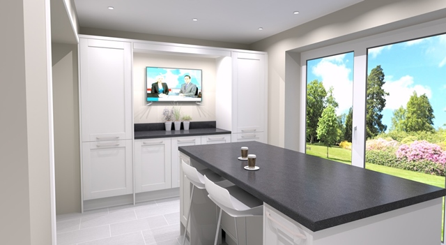 New kitchen with TV and seating in Breaston, Derby