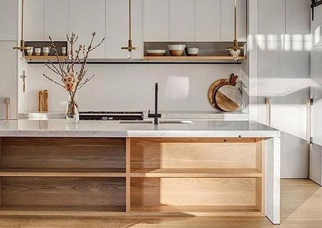 kitchen supplier Long Eaton Nottingham - modern kitchen pale colour pallet with timber shelf's