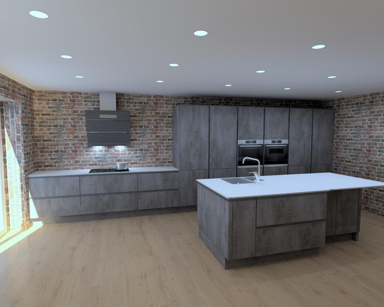 Concrete Slate Grey Kitchen Long Eaton
