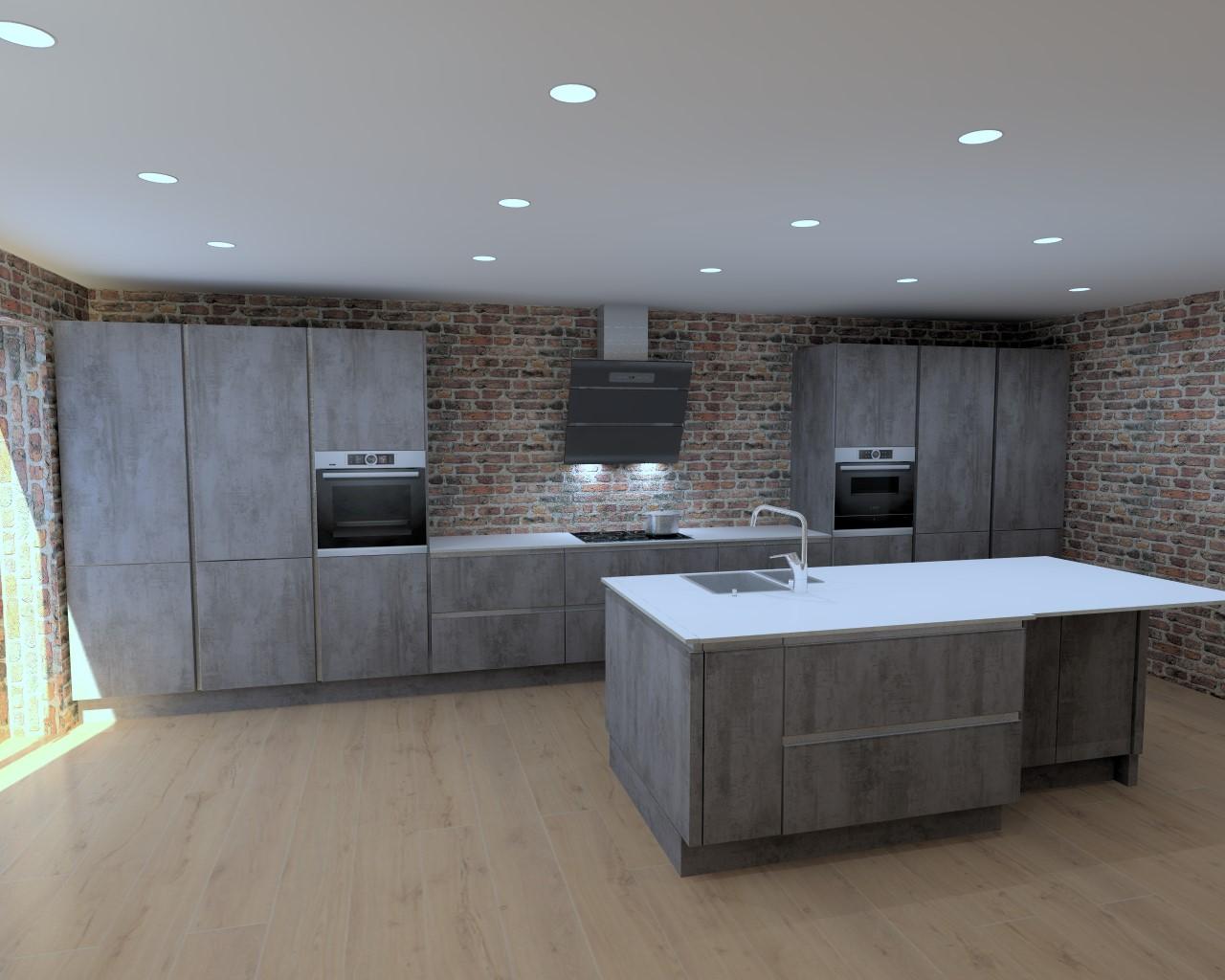 Concrete effect Kitchen Long Eaton
